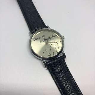 Who cares I'm already late wrist watch - black