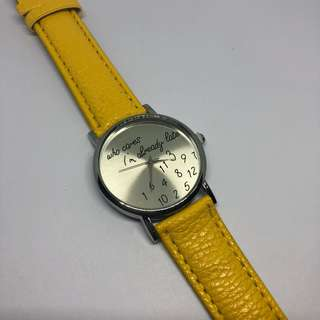 Who cares I'm already late wrist watch - Yellow