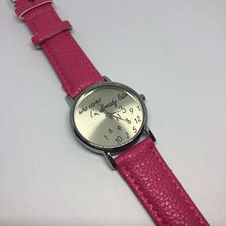 Who cares I'm already late wrist watch - pink