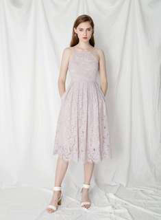 AND WELL DRESSED FANTASY EYELASH LACE DRESS (LILAC GREY)