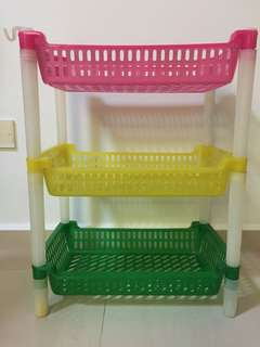 3 Layered Colourful Plastic Dish Drainer With Towel Hook