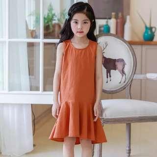 Cotton sleeveless fishtail dress