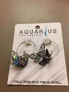 Earrings Butterfly design. MADD of New Zealander Paua Shell