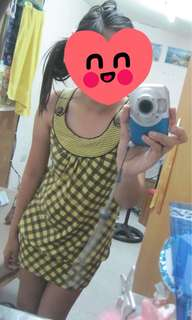 Yellow Lee Pipes Printed Dress