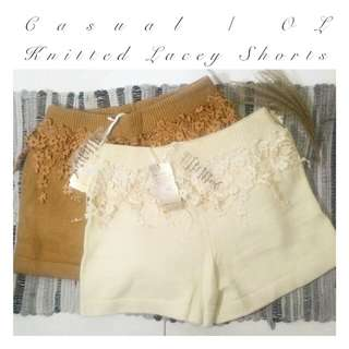 • Beautiful Knitted • Lacey Casual / OL Shorts• BNWT