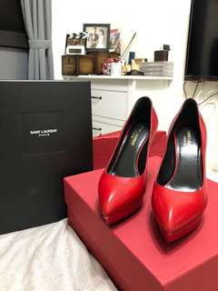 🚚 YSL紅色厚底高跟鞋