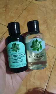 The body shop fuji green tea shampoo and shower gel