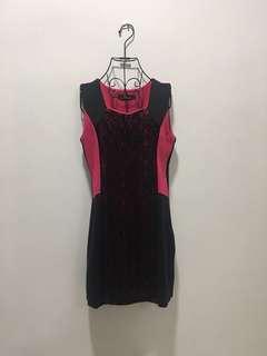 ♥️Pink& Black lace Dress 135