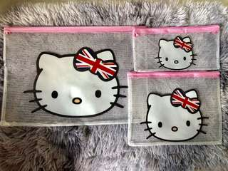 BN Hello Kitty and Doraemon Zipper Pouch *Set of 3* *Free postage*