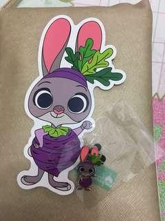 迪士尼優獸大都會 兔Disney rabbit  pins 徽章明信片