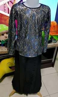 Modern kurung goldblue kid hijab