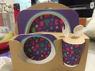 Purple Alphabets Kids Bamboo Dining Set