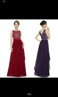 Pre-Order Women Bridesmaid Evening Gown Formal Lace Long Maxi Dress