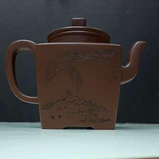 紫砂壺,底槽青,天圆地方,(高凌雲造,國家高级工藝美術師)