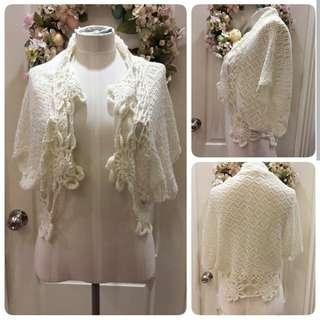 米白lace針織披肩