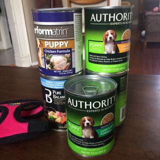 Puppy food (soft) 5 cans + xxs harness