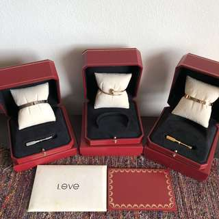 Cartier Bracelet Set ( Love Bracelet , juste un clou White Gold, rose gold and yellow gold )