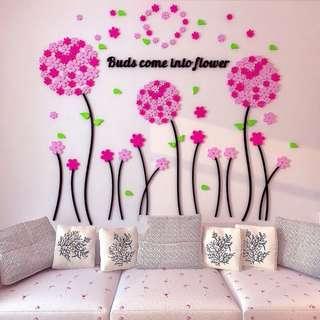 3D acrylic wallpaper DIY flowers