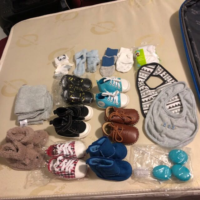 6-12 months shoes, socks, towels, mittens