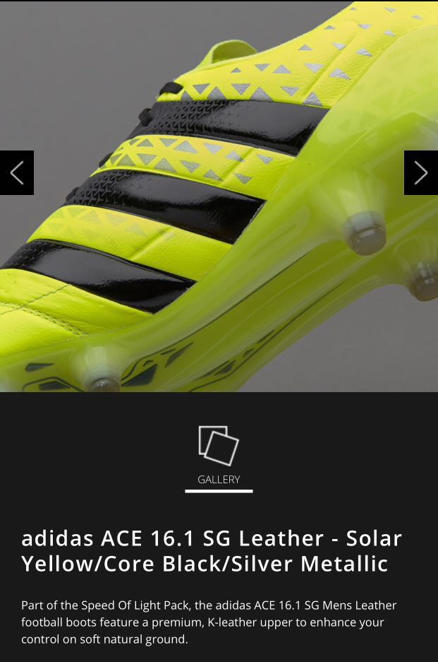 c8840c6aa Adidas Ace 16.1 leather - Solar yellow Core Black Silver Metallic ...