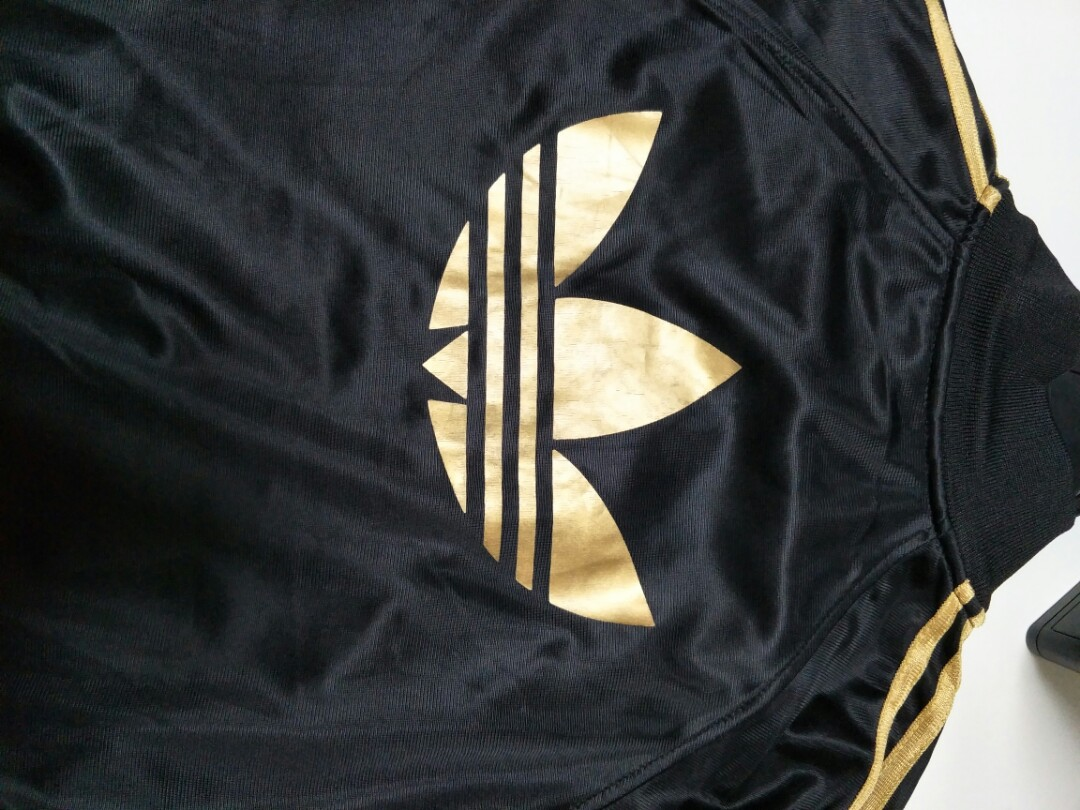 ADIDAS ORIGINALS gold and black womens track jacket, Women's