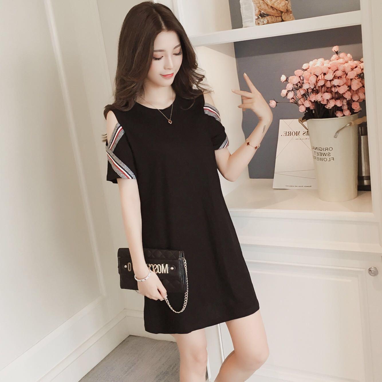 Black Coloured Stripes Trim Crossed Sleeves Korean Style Dress Women S Fashion Clothes Dresses Skirts On Carou