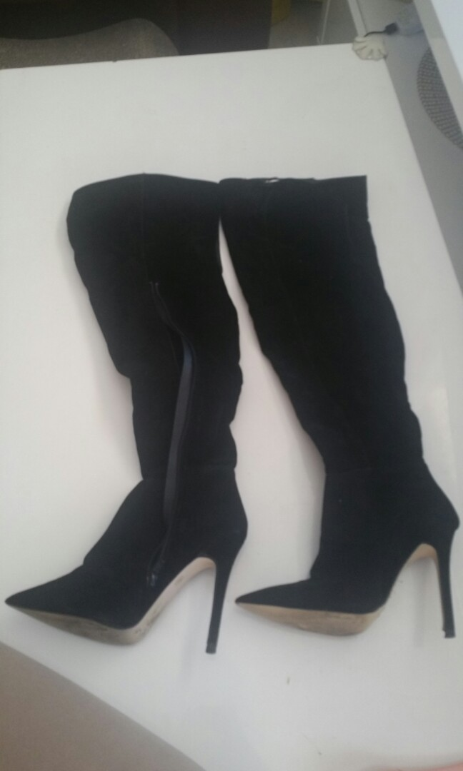 Black suede pointed stiletto heel over the knee boots