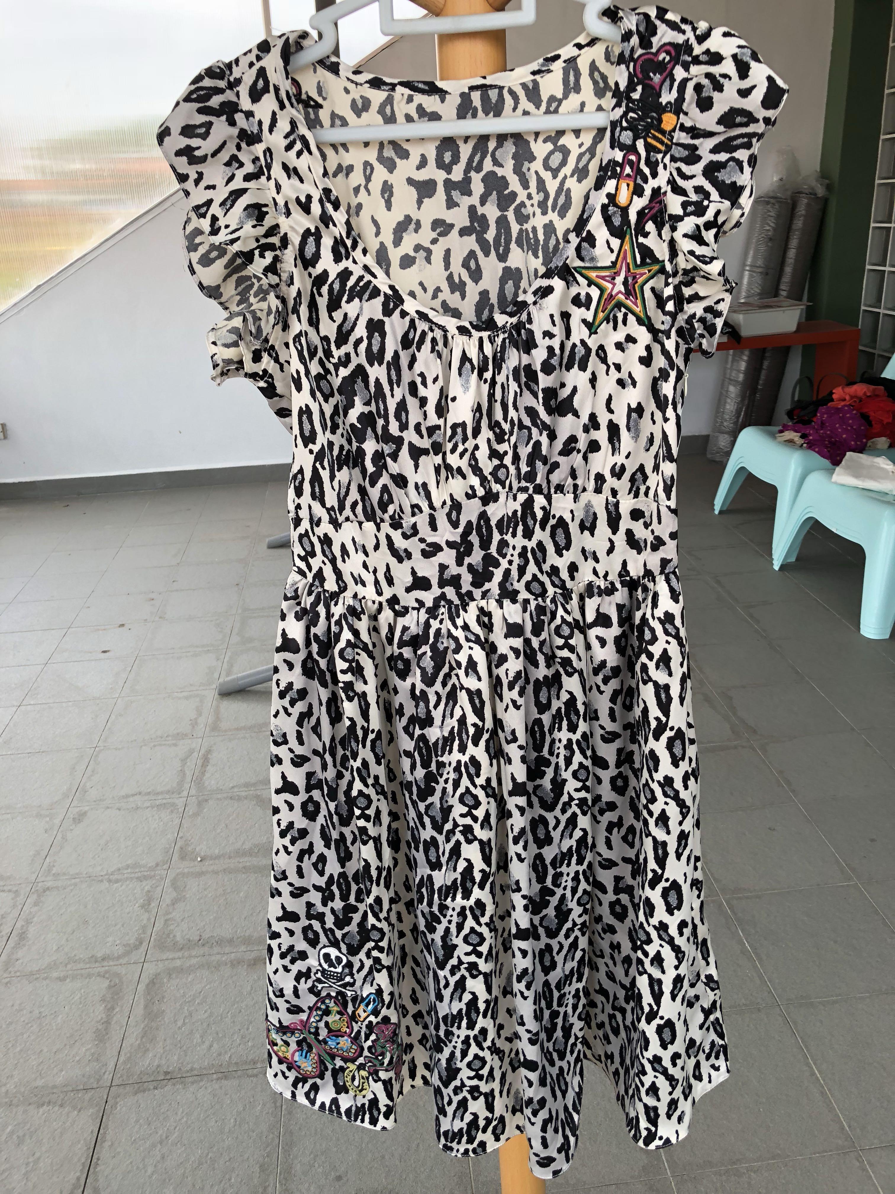 91c043b22b0e Black White Leopard Print Dress w/ Embroidery Punk Dress, Women's ...