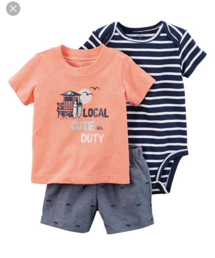 3ece89f32 BN Carters Baby Boy Surf 3 Piece Romper Set 18mths avail!