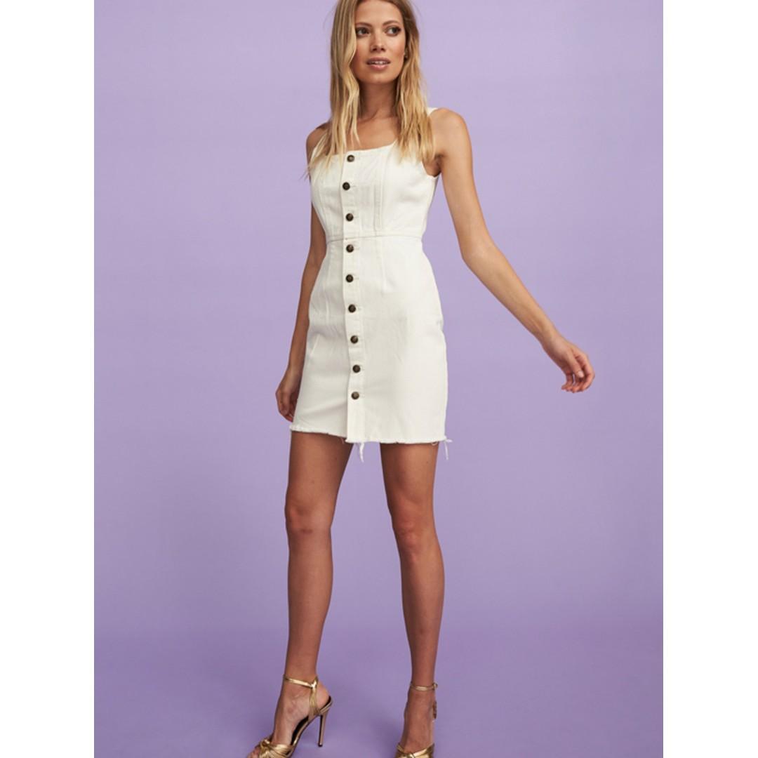 BNWT Dahli White Denim Mary Jane Dress