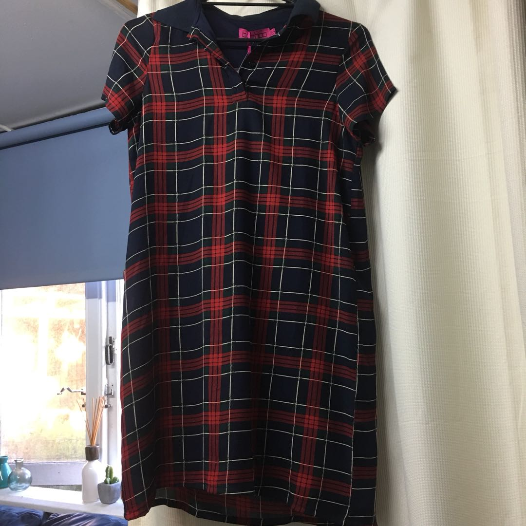 Boohoo tartan shirt dress