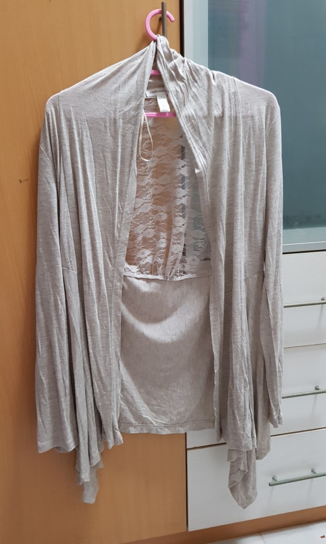 Brand new ambiance apparel lace cardigan in grey