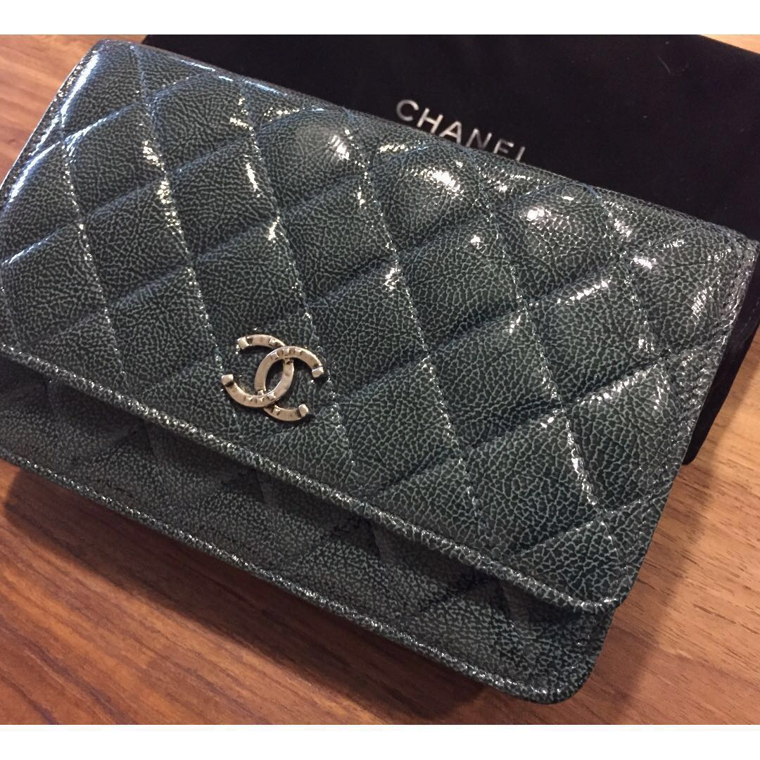 6f5cebeaae87c1 Chanel wallet on chain (woc) quilted with Hin green patent, Women's ...