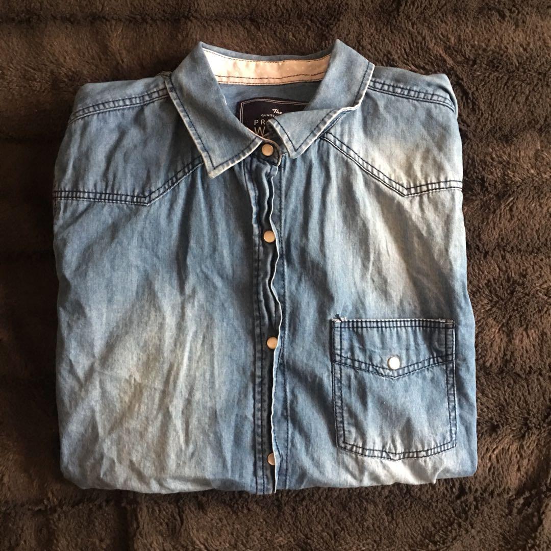 Denim-Like Collared Shirt