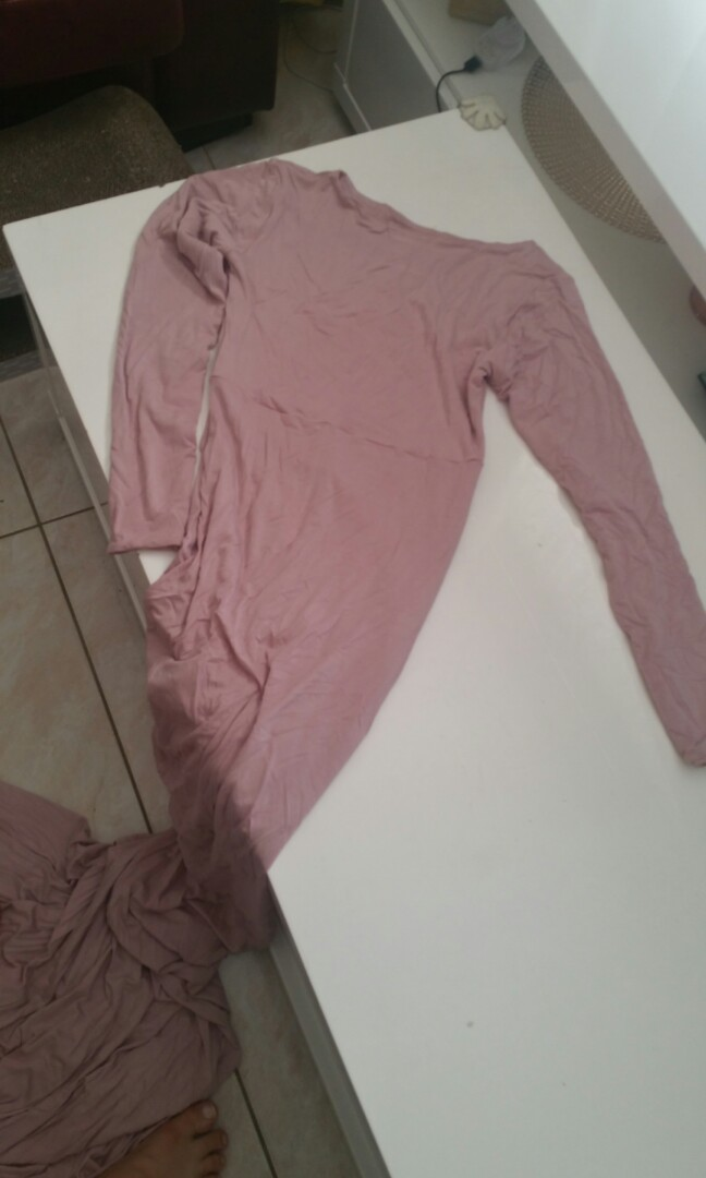 Dusty pink long sleeve high neck dress with 2.5 metre train