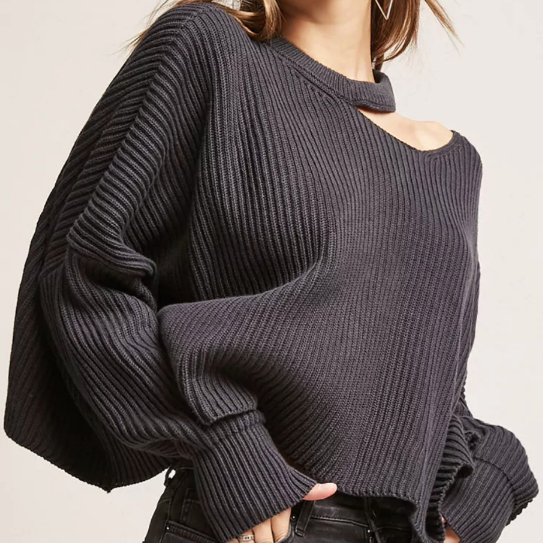 Forever 21 Cutout Mock Neck Sweater