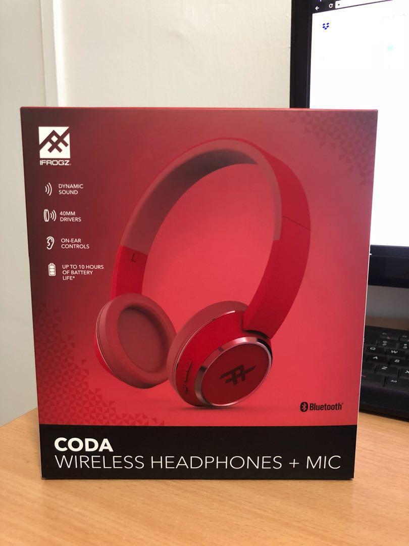 1a505adeacc iFROGZ CODA wireless headphone (RED), Electronics, Audio on Carousell