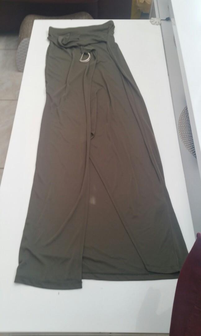 Khaki wrap split front maxi skirt with D ring