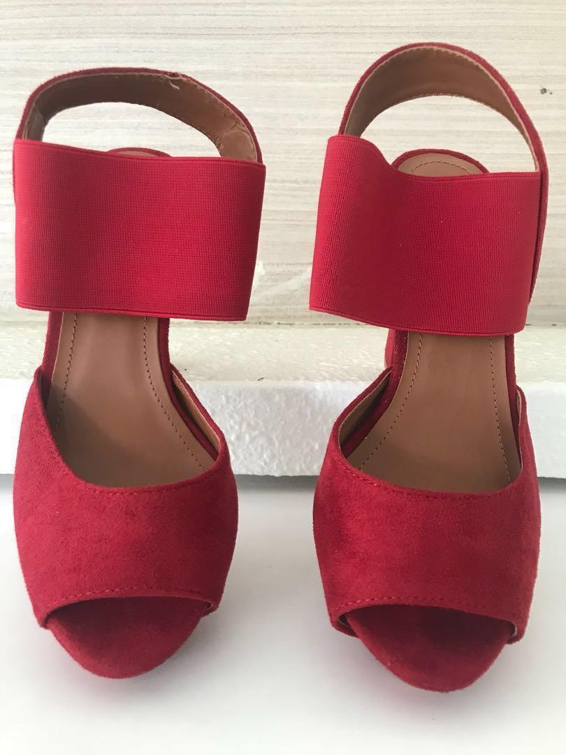 red platform heel sandals
