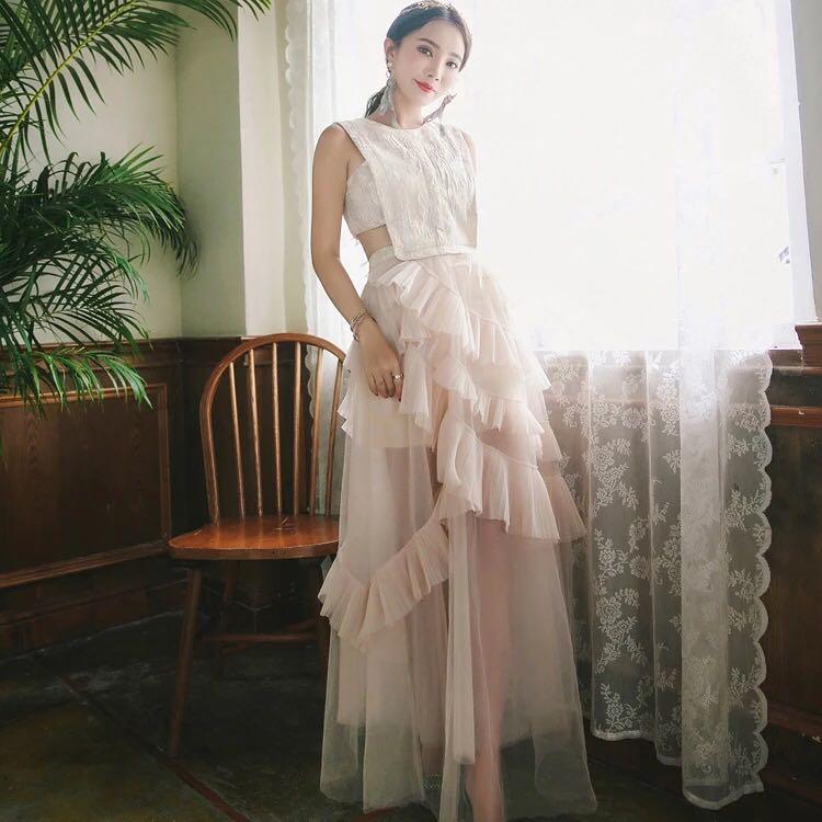Mesh lace layer hollow waist long maxi gown ball dress