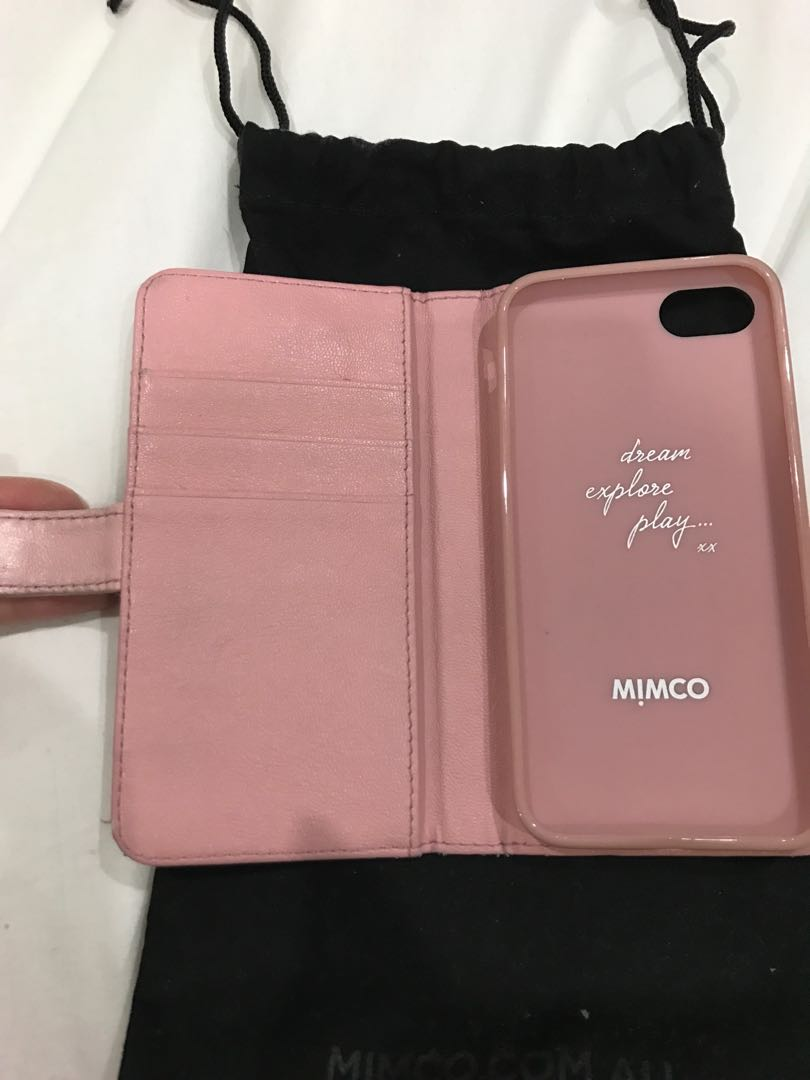 Mimco leather iPhone 7 case in blush