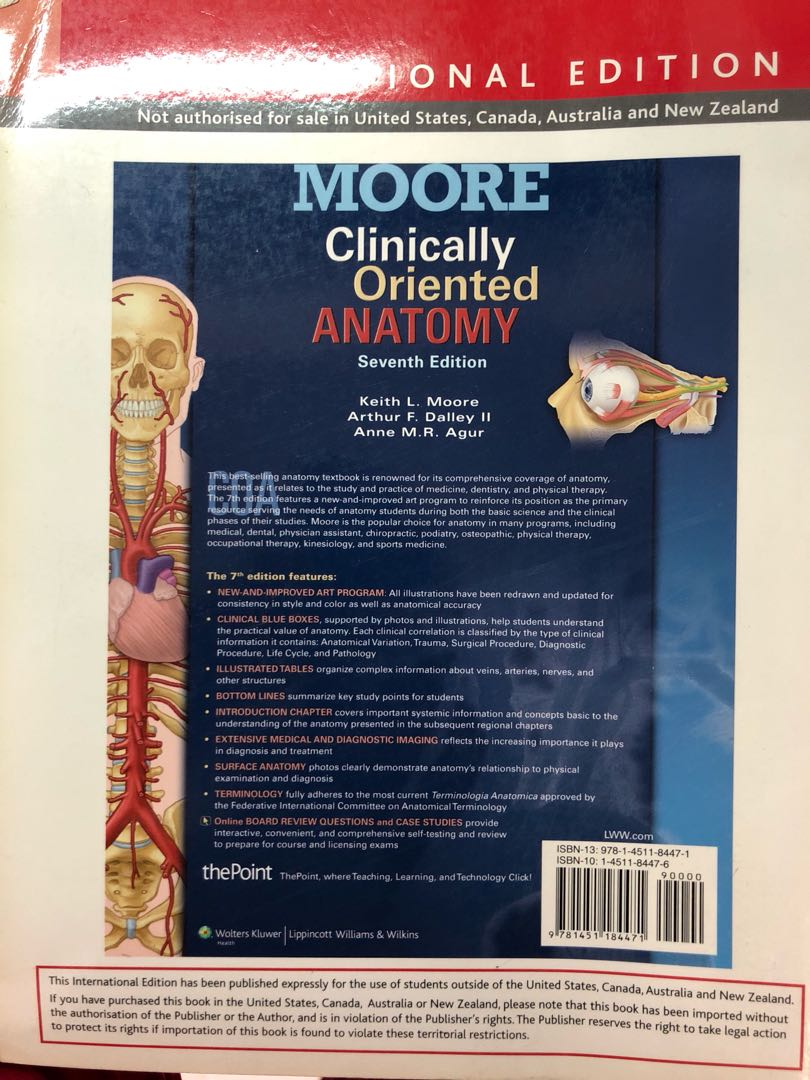 Moore clinically oriented anatomy, Books & Stationery, Textbooks on ...