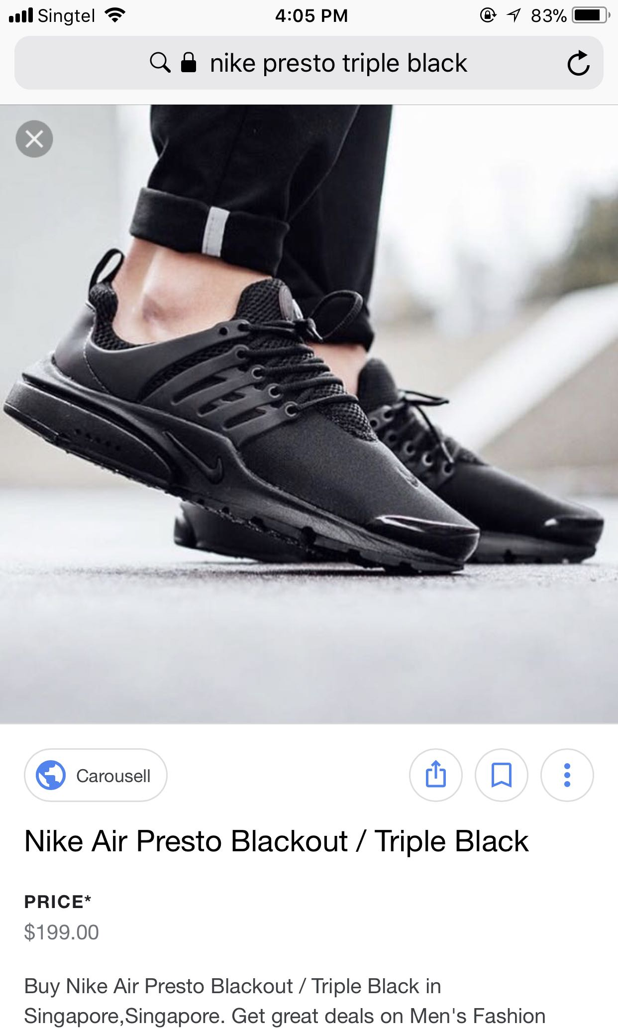 quality design b5947 6396e ... blackout 9ef18 34723  czech nike air presto triple black mens fashion  footwear on carousell 0ecbd 8359f