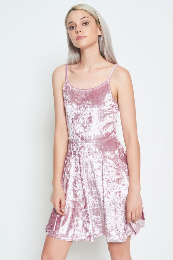 8ffa43352866 PINK VELVET CAMI SWING DRESS