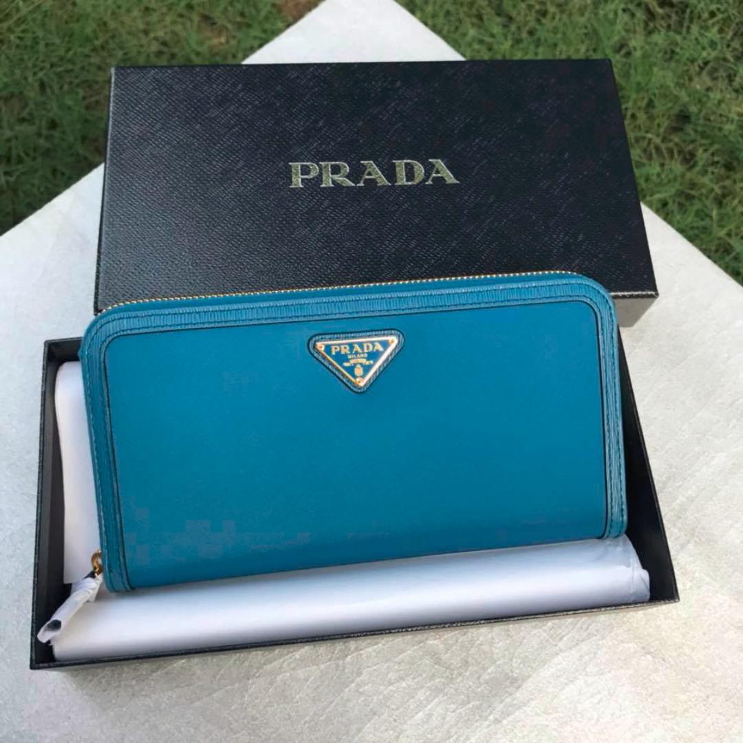 timeless design f2b03 a987a Prada 1ML506 Blue Nylon With Leather Trim Zip Wallet