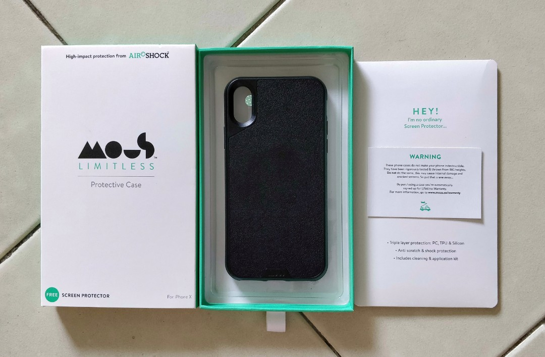 low priced 6efe1 36e3d 9.5/10 Mous iPhone X Case - Real Leather + Screen Protector