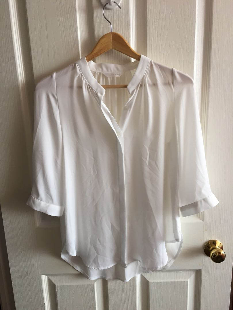 Soft women's white blouse top korea