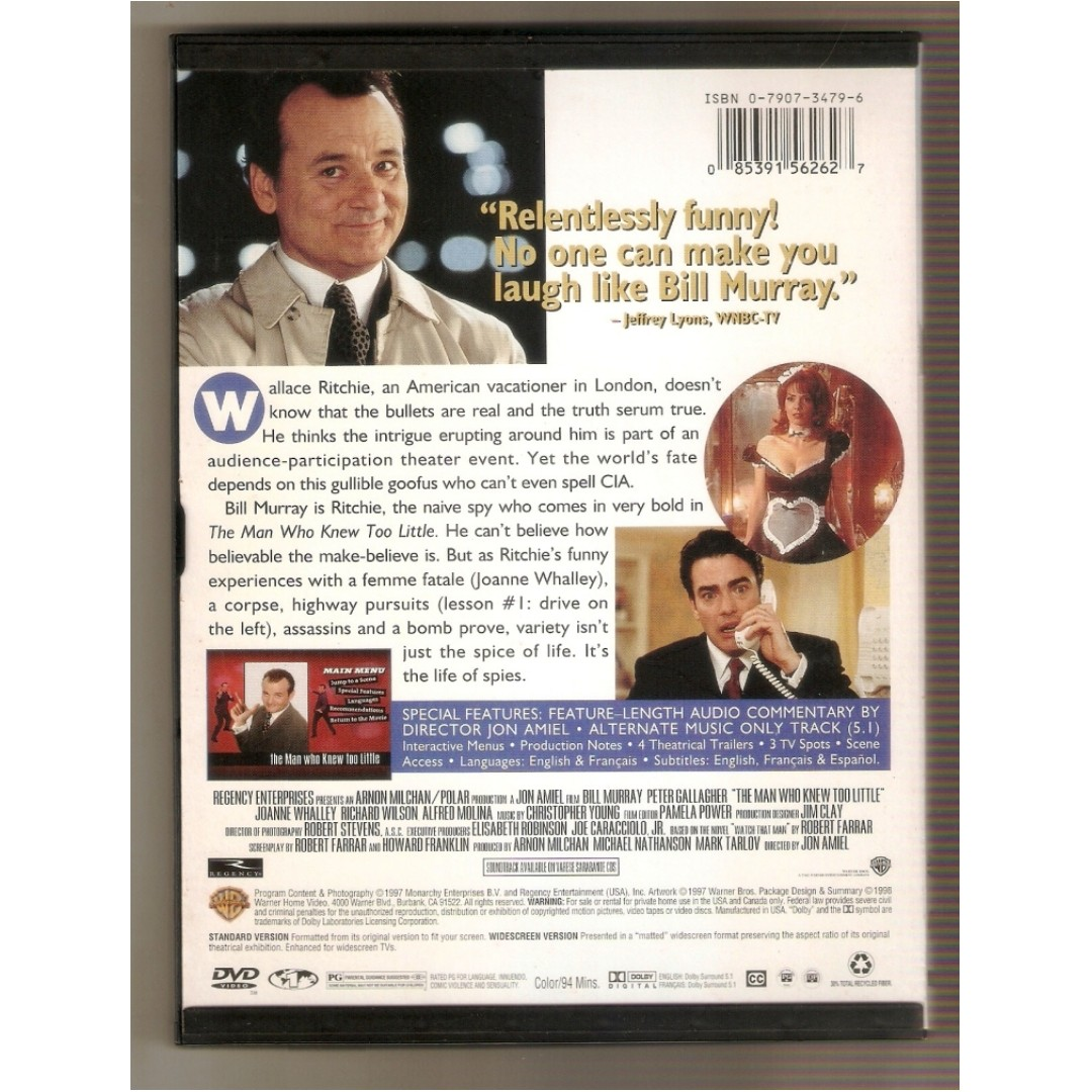 The Man Who Knew Too Little DVD (Region 1), Music & Media