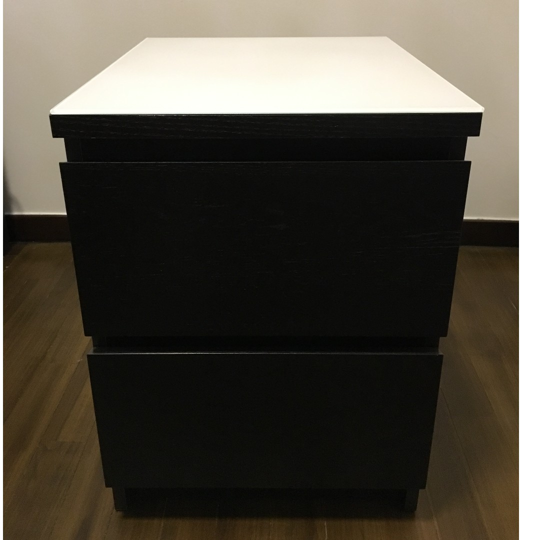 Used Ikea Chest Of 2 Drawers Malm Black Brown Color Furniture Shelves On Carou