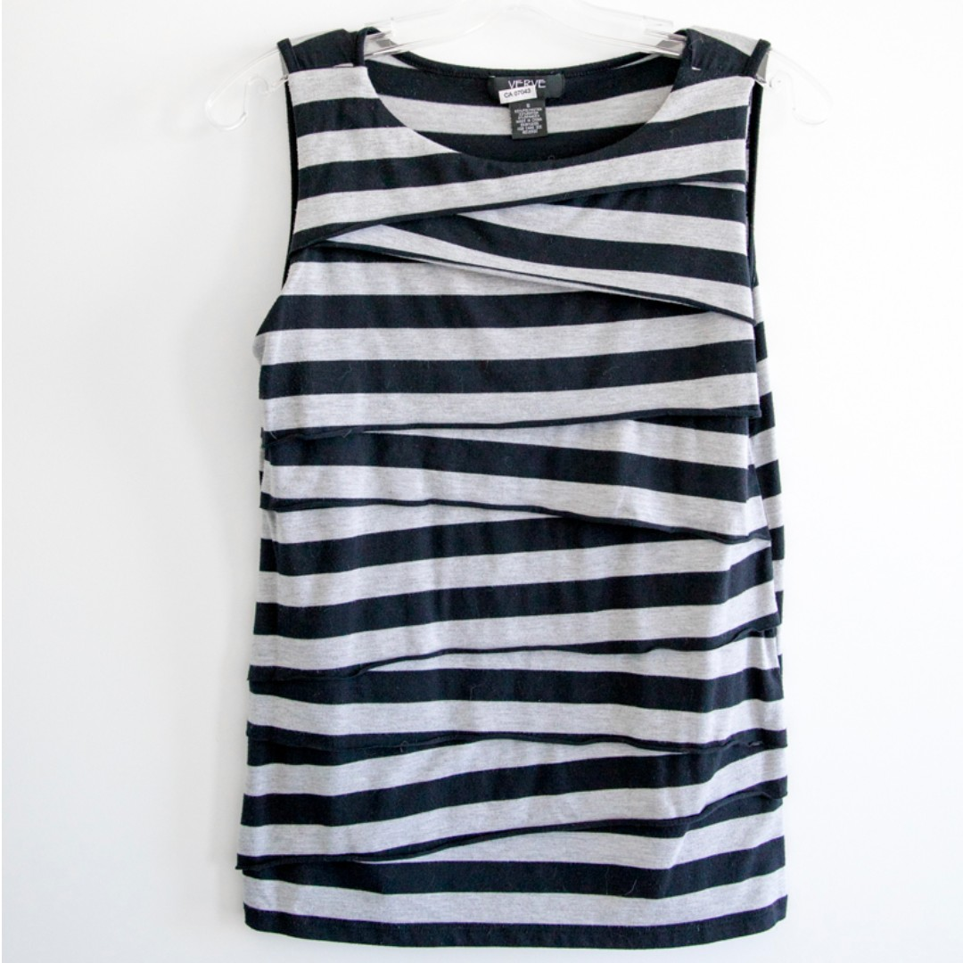 Verve striped top. Sleeveless blouse. Black and grey. Size small. Fitted.